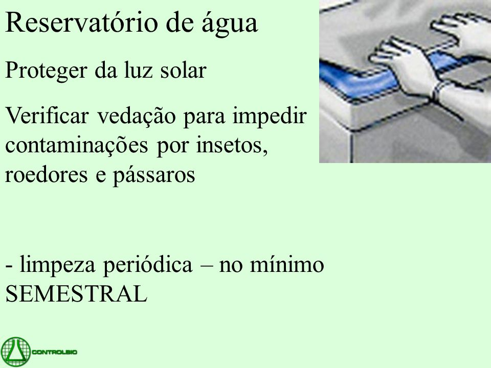 Reservatório de água Proteger da luz solar