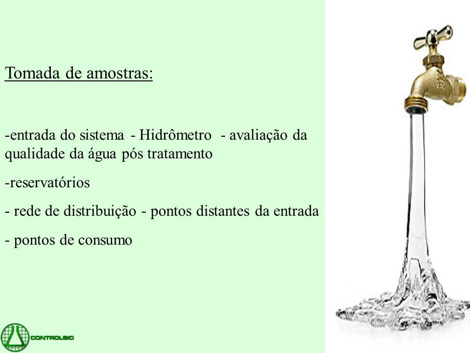 Tomada de amostras: entrada do sistema - Hidrômetro - avaliação da qualidade da água pós tratamento.