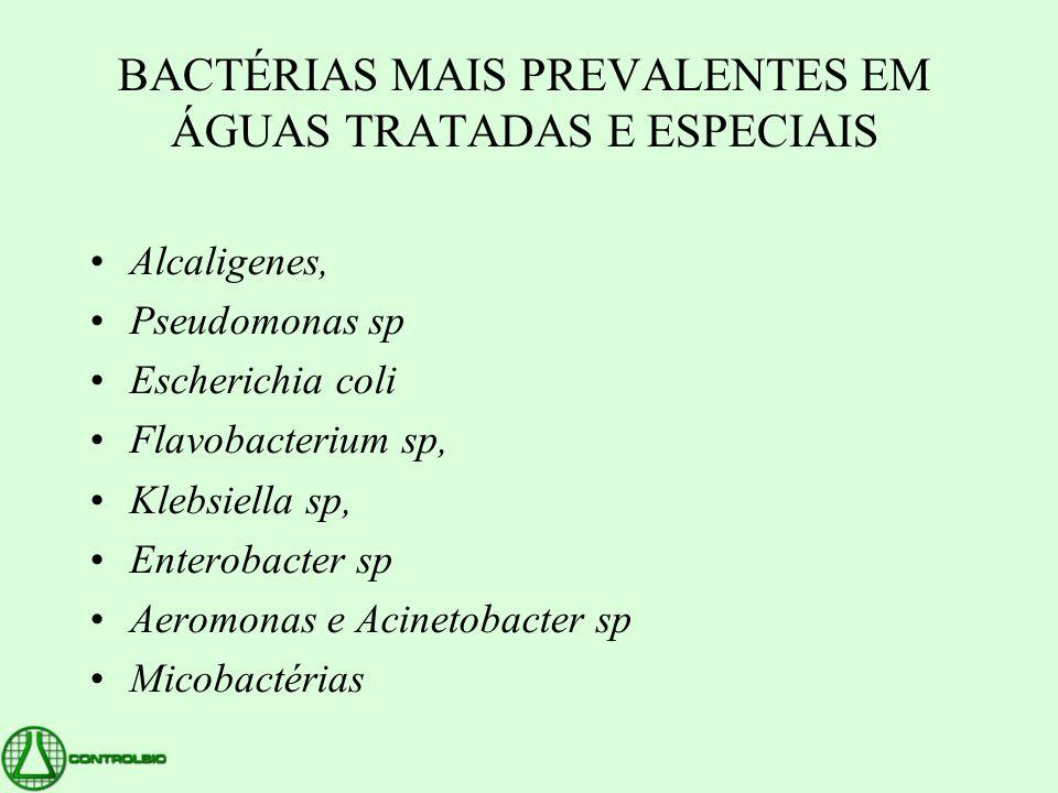 BACTÉRIAS MAIS PREVALENTES EM ÁGUAS TRATADAS E ESPECIAIS