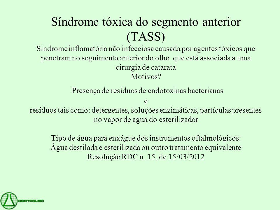 Síndrome tóxica do segmento anterior (TASS) Síndrome inflamatória não infecciosa causada por agentes tóxicos que penetram no seguimento anterior do olho que está associada a uma cirurgia de catarata Motivos.