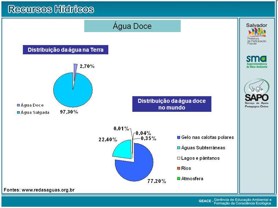 Distribuição da água na Terra Distribuição da água doce no mundo