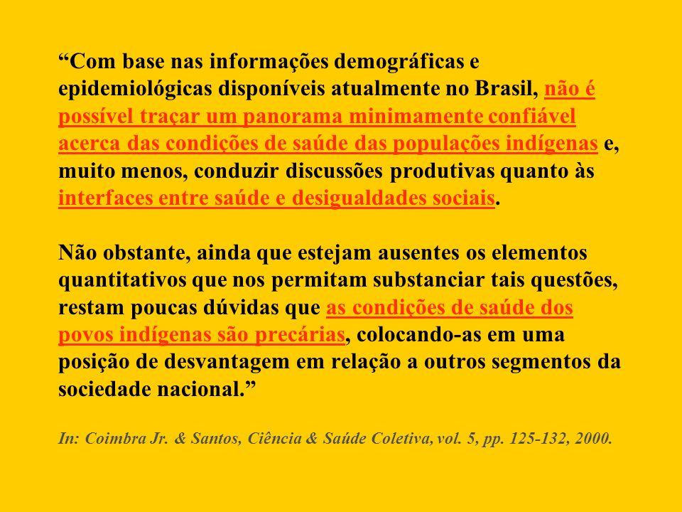Com base nas informações demográficas e epidemiológicas disponíveis atualmente no Brasil, não é possível traçar um panorama minimamente confiável acerca das condições de saúde das populações indígenas e, muito menos, conduzir discussões produtivas quanto às interfaces entre saúde e desigualdades sociais.