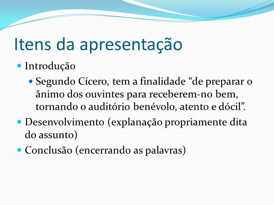 Itens da apresentação Introdução