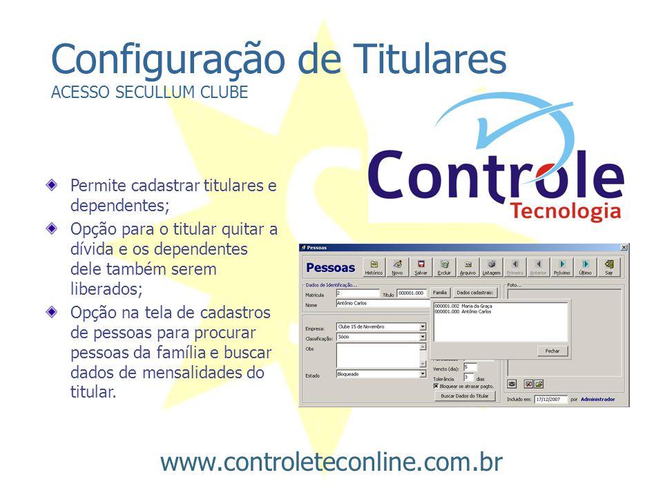 Configuração de Titulares ACESSO SECULLUM CLUBE
