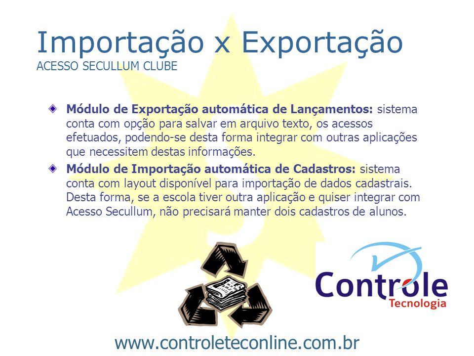 Importação x Exportação ACESSO SECULLUM CLUBE