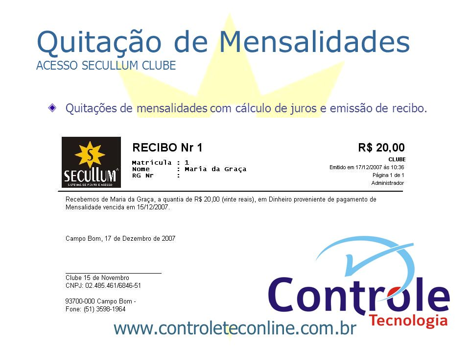 Quitação de Mensalidades ACESSO SECULLUM CLUBE