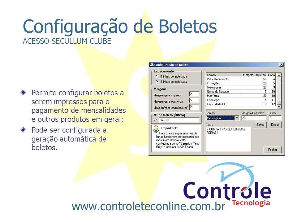 Configuração de Boletos ACESSO SECULLUM CLUBE