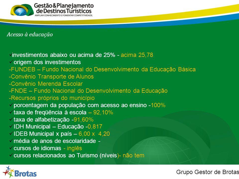 Acesso à educação investimentos abaixo ou acima de 25% - acima 25,78. origem dos investimentos.
