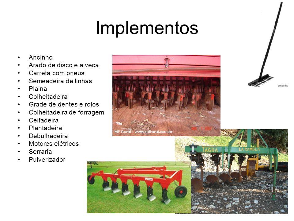 Implementos Ancinho Arado de disco e aiveca Carreta com pneus
