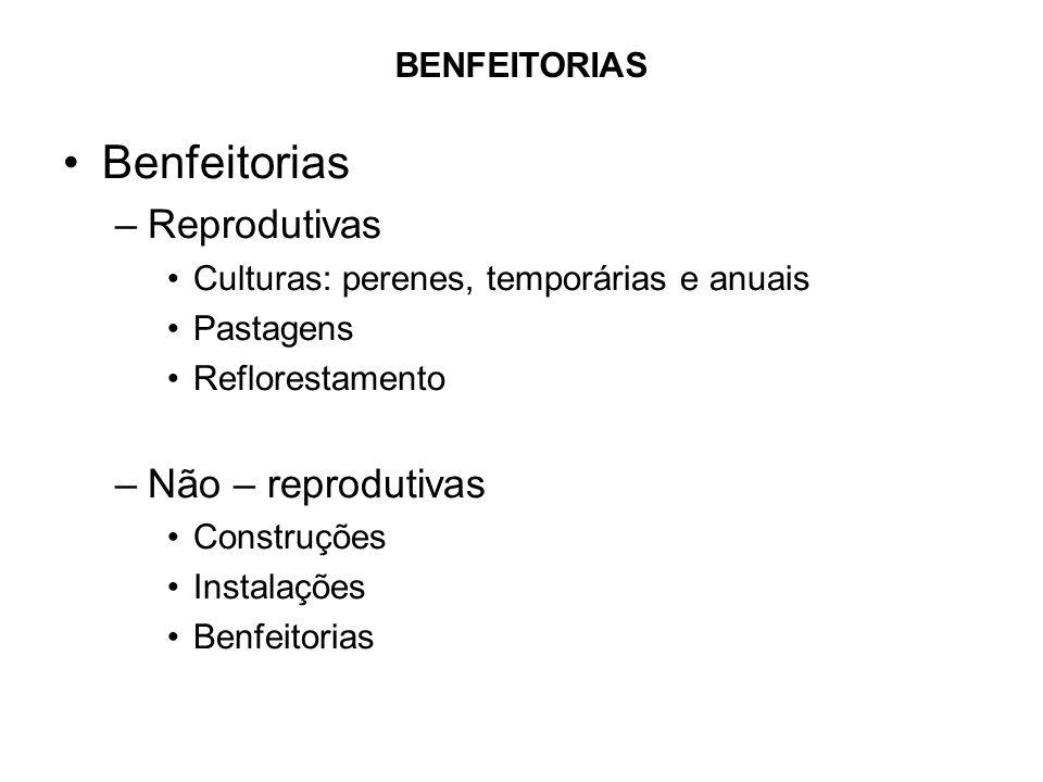 Benfeitorias Reprodutivas Não – reprodutivas BENFEITORIAS