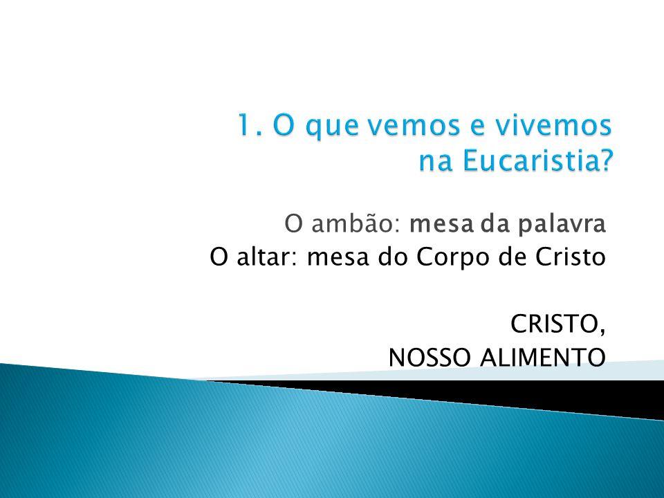 1. O que vemos e vivemos na Eucaristia