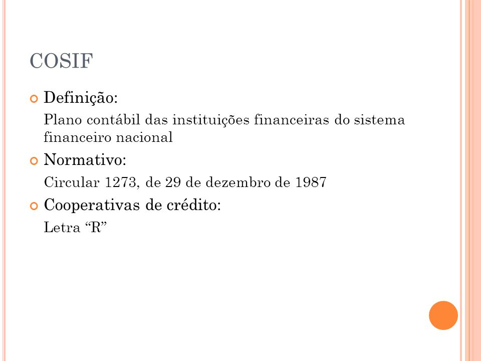 COSIF Definição: Normativo: Cooperativas de crédito: