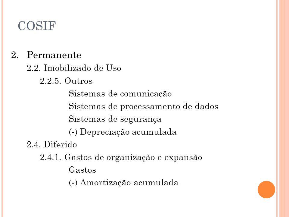 COSIF 2. Permanente 2.2. Imobilizado de Uso 2.2.5. Outros