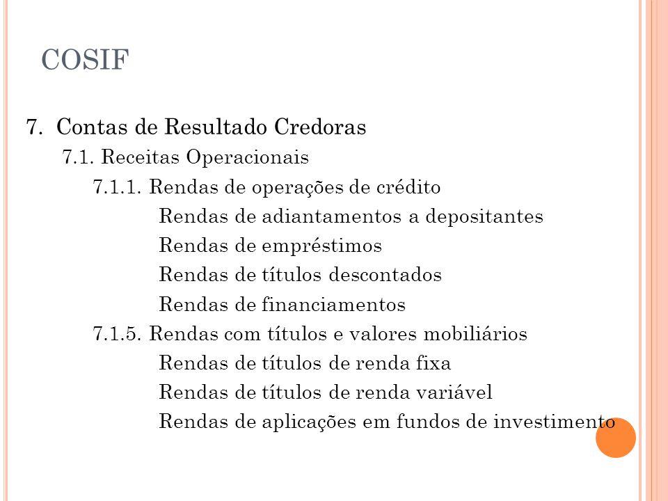 COSIF 7. Contas de Resultado Credoras 7.1. Receitas Operacionais