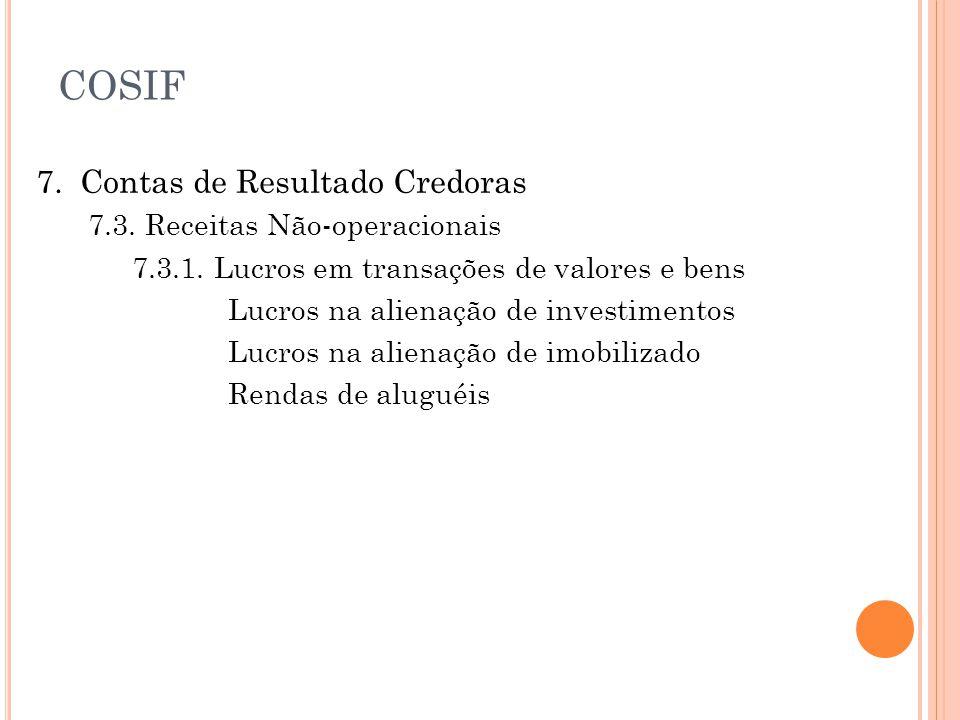 COSIF 7. Contas de Resultado Credoras 7.3. Receitas Não-operacionais