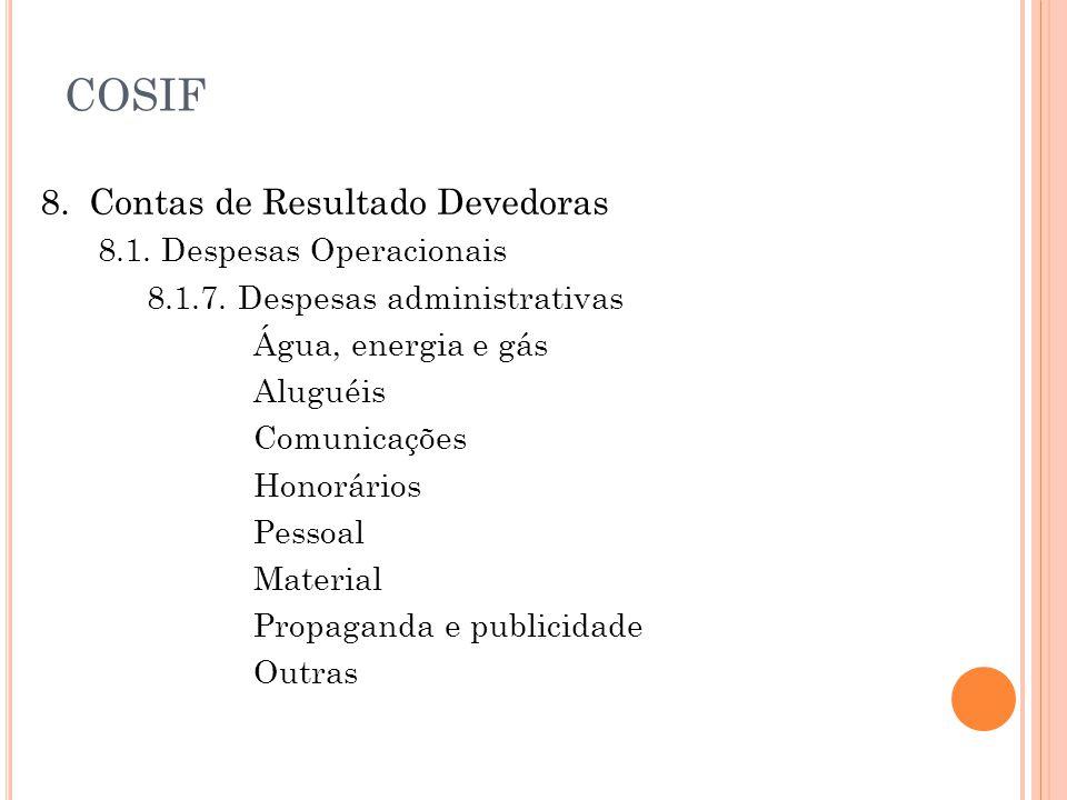 COSIF 8. Contas de Resultado Devedoras 8.1. Despesas Operacionais