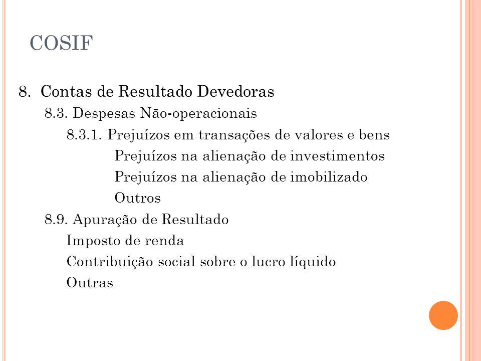 COSIF 8. Contas de Resultado Devedoras 8.3. Despesas Não-operacionais