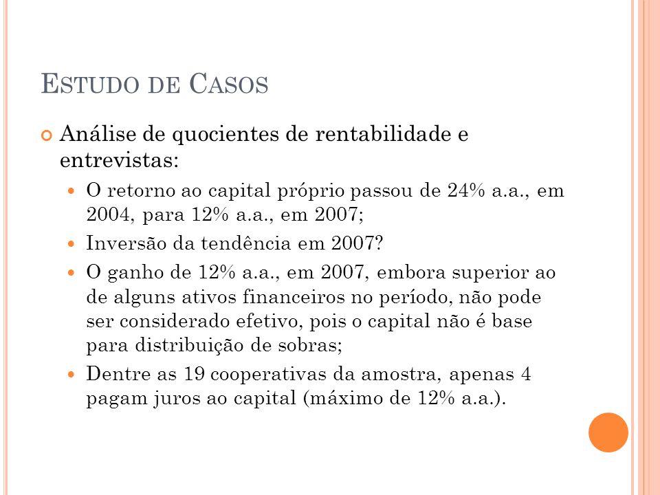 Estudo de Casos Análise de quocientes de rentabilidade e entrevistas: