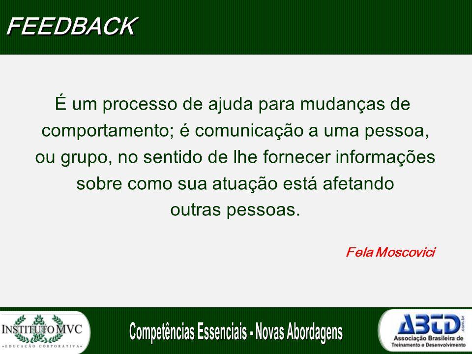 FEEDBACK É um processo de ajuda para mudanças de
