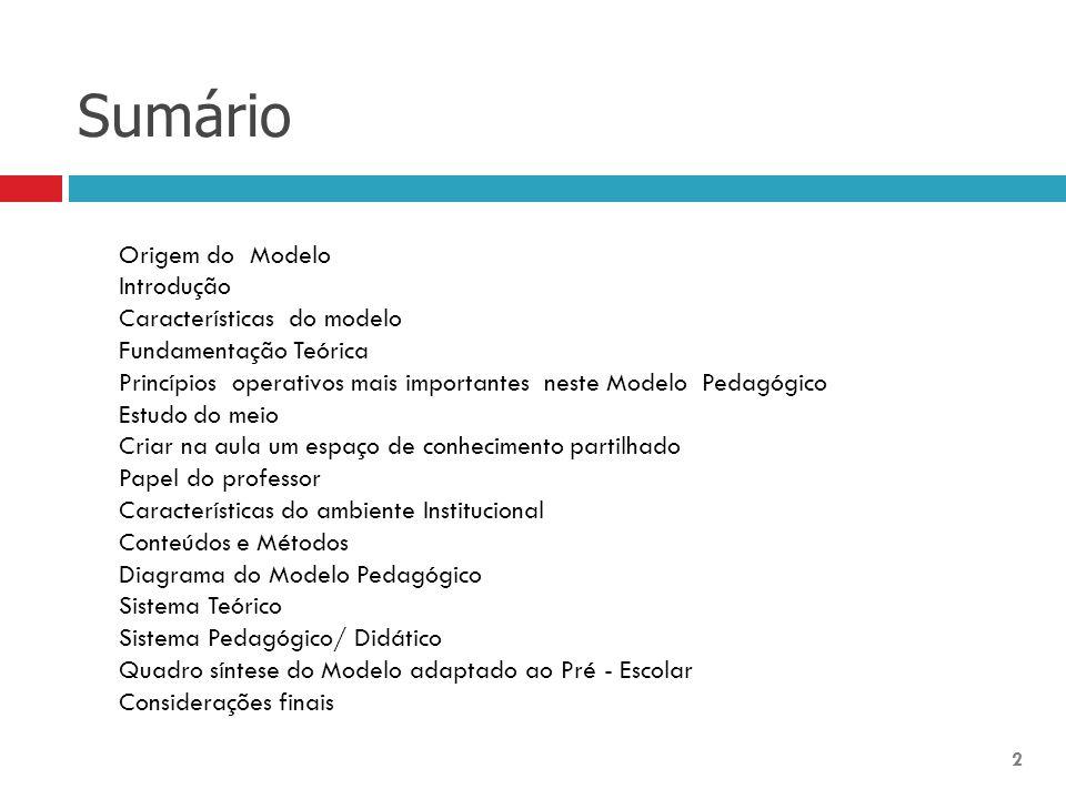 Sumário Origem do Modelo Introdução Características do modelo