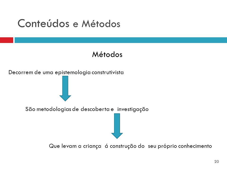 Conteúdos e Métodos Métodos