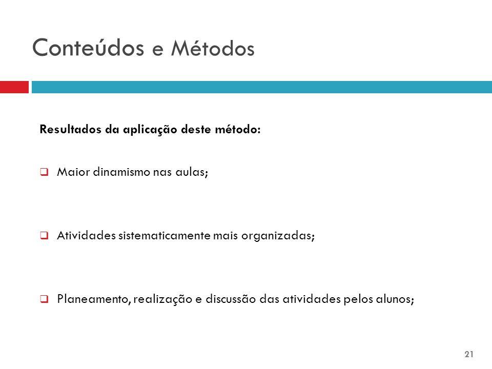 Conteúdos e Métodos Resultados da aplicação deste método: