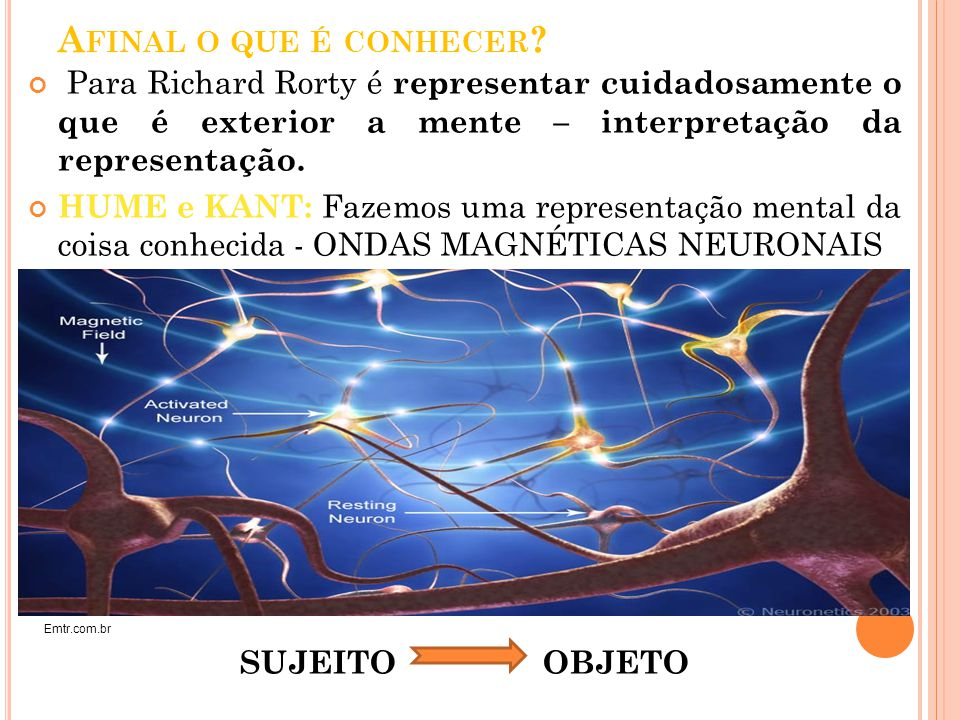 Afinal o que é conhecer Para Richard Rorty é representar cuidadosamente o que é exterior a mente – interpretação da representação.