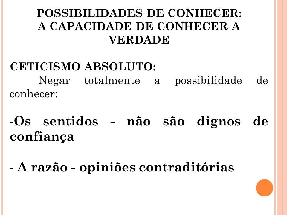 POSSIBILIDADES DE CONHECER: A CAPACIDADE DE CONHECER A VERDADE
