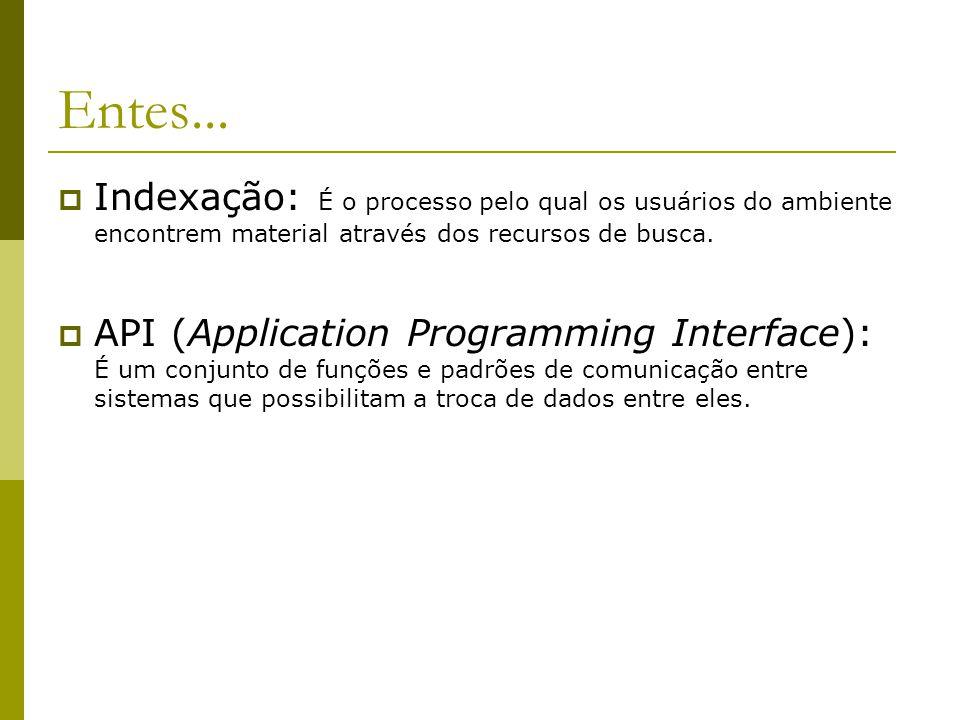 Entes... Indexação: É o processo pelo qual os usuários do ambiente encontrem material através dos recursos de busca.