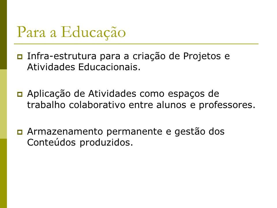 Para a Educação Infra-estrutura para a criação de Projetos e Atividades Educacionais.