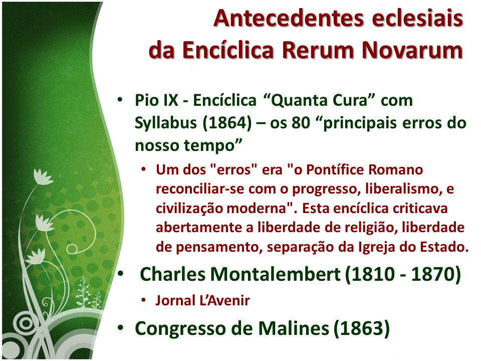 Antecedentes eclesiais da Encíclica Rerum Novarum