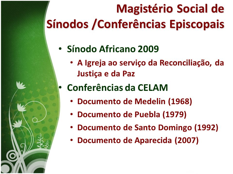 Magistério Social de Sínodos /Conferências Episcopais