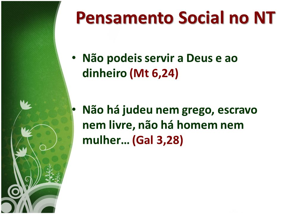 Pensamento Social no NT