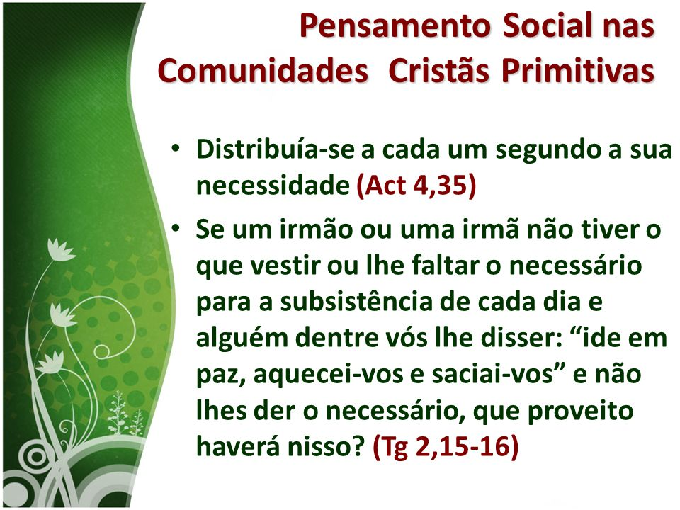 Pensamento Social nas Comunidades Cristãs Primitivas