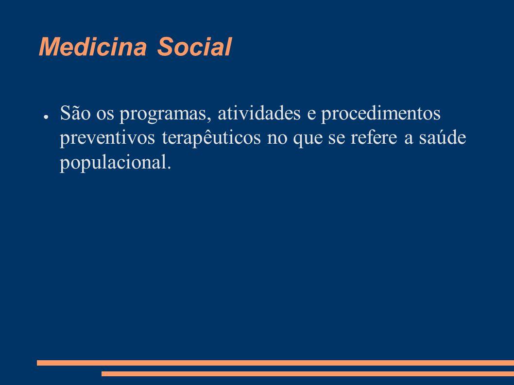 Medicina Social São os programas, atividades e procedimentos preventivos terapêuticos no que se refere a saúde populacional.