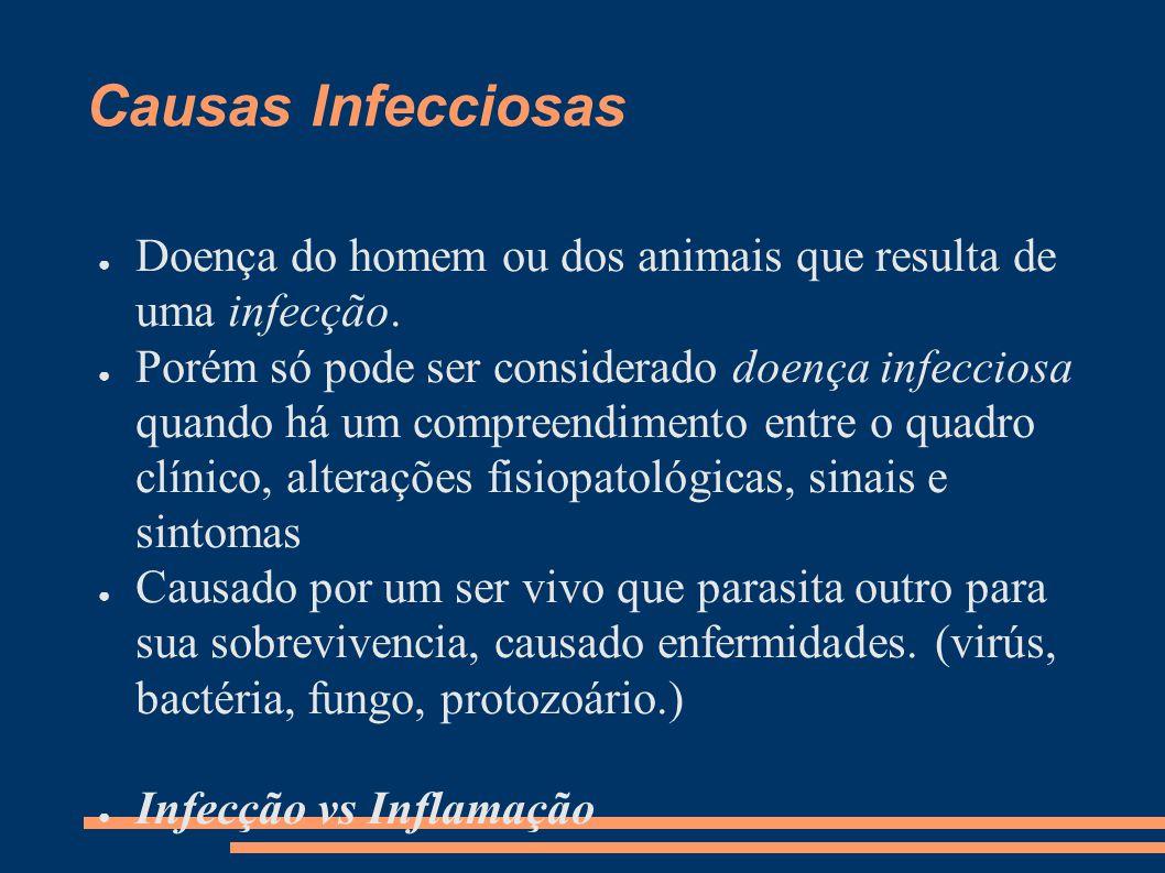 Causas Infecciosas Doença do homem ou dos animais que resulta de uma infecção.