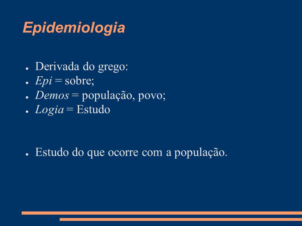 Epidemiologia Derivada do grego: Epi = sobre; Demos = população, povo;