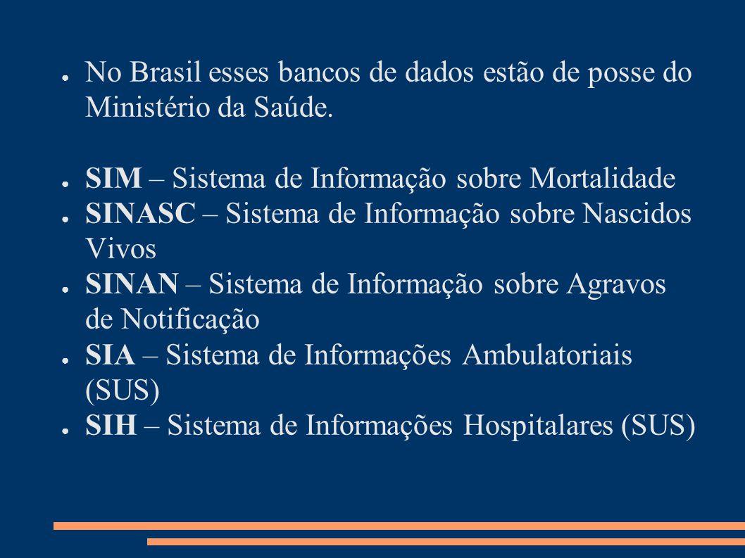 No Brasil esses bancos de dados estão de posse do Ministério da Saúde.
