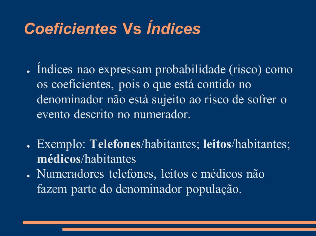 Coeficientes Vs Índices