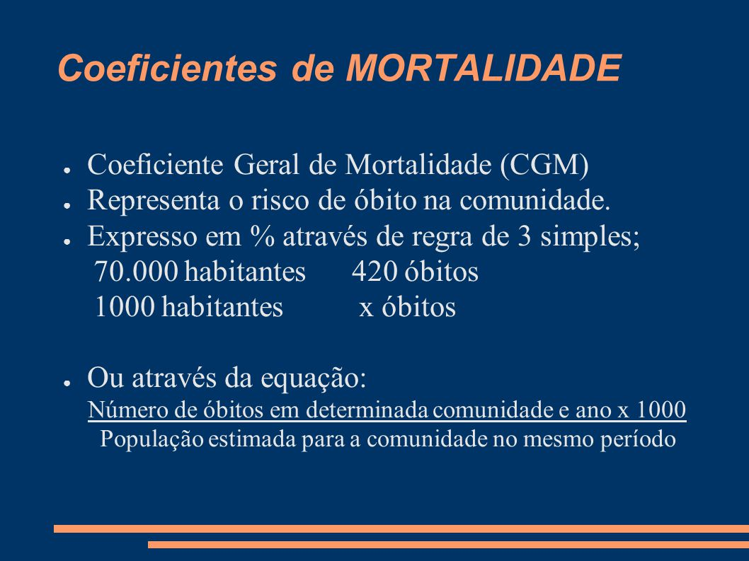 Coeficientes de MORTALIDADE