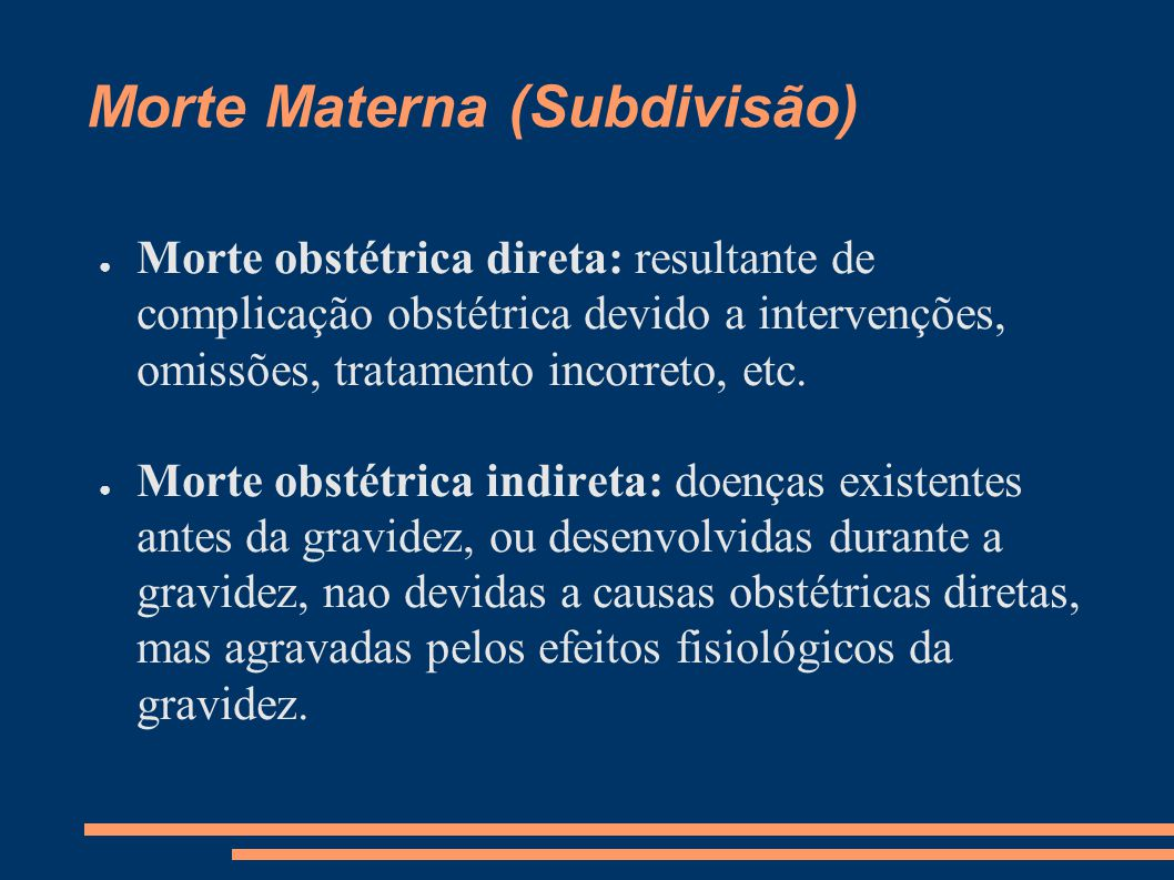 Morte Materna (Subdivisão)