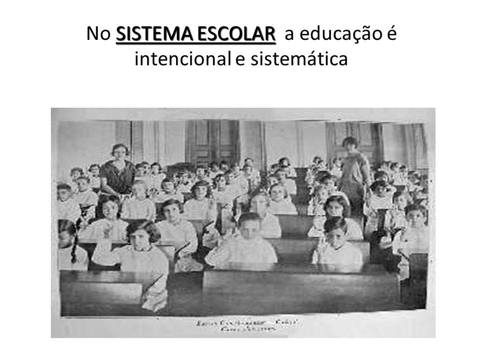 No SISTEMA ESCOLAR a educação é intencional e sistemática