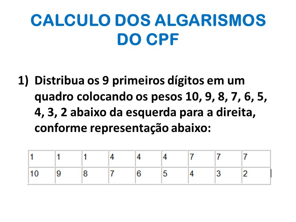 CALCULO DOS ALGARISMOS DO CPF