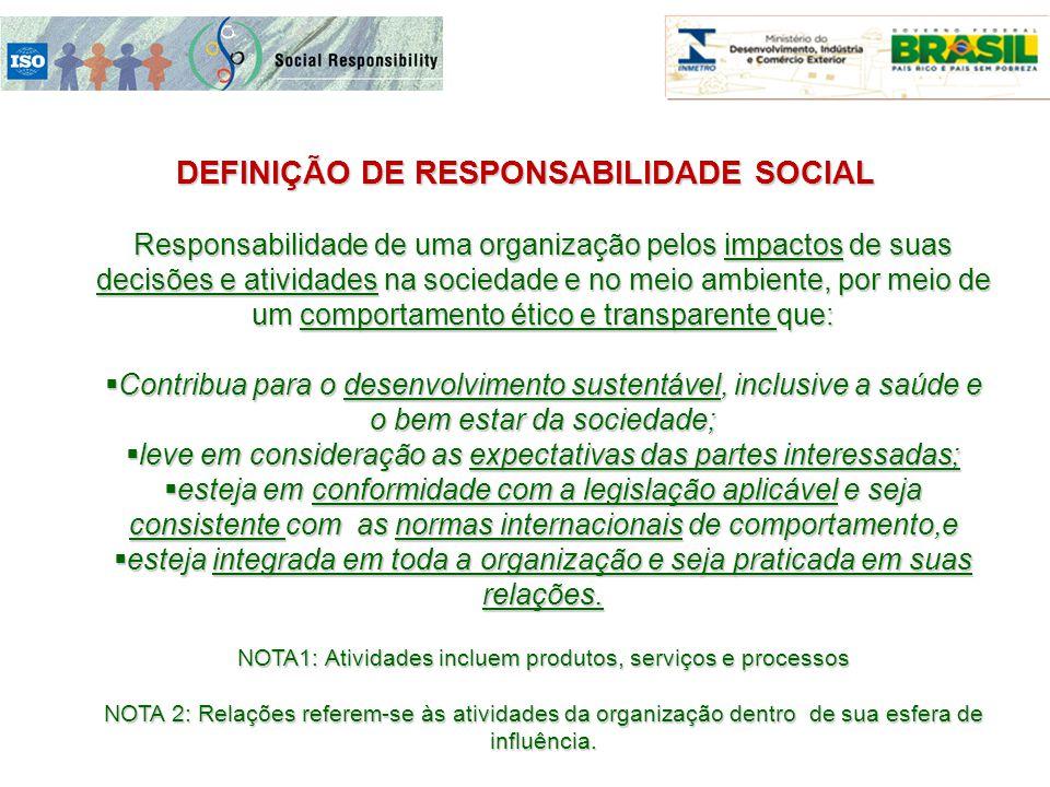 DEFINIÇÃO DE RESPONSABILIDADE SOCIAL