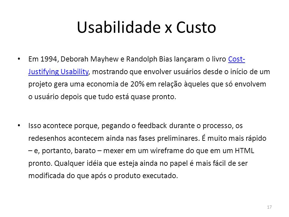 Usabilidade x Custo
