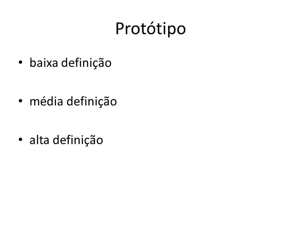 Protótipo baixa definição média definição alta definição