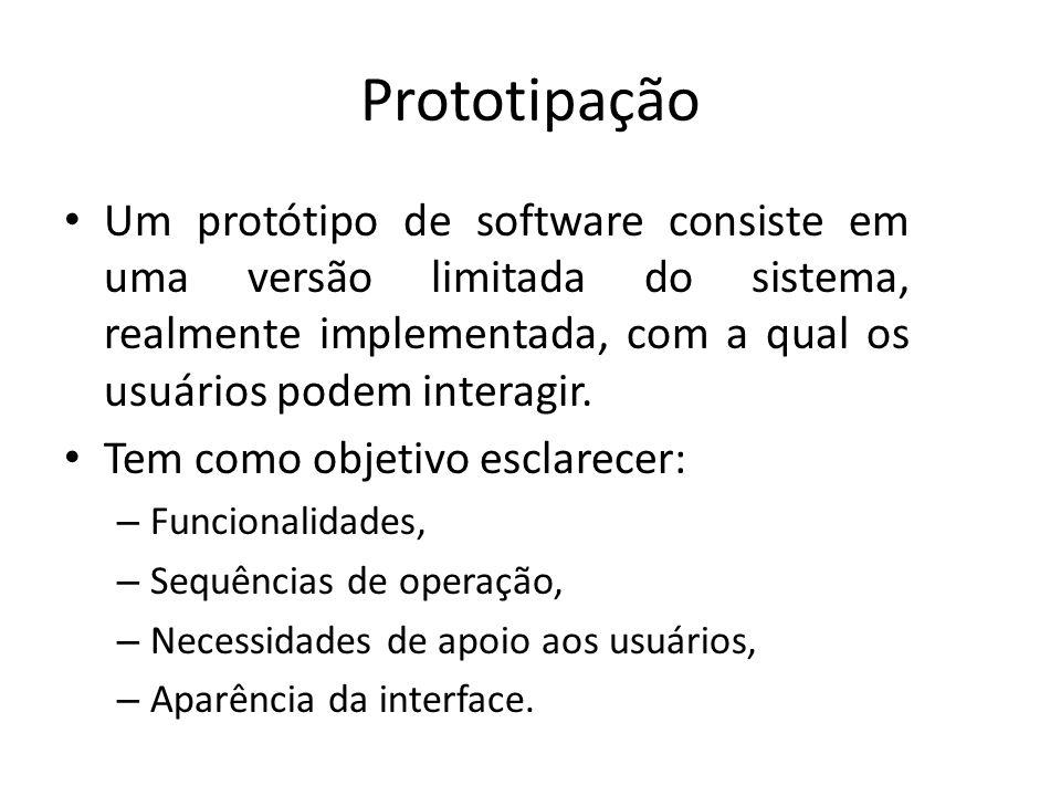Prototipação Um protótipo de software consiste em uma versão limitada do sistema, realmente implementada, com a qual os usuários podem interagir.