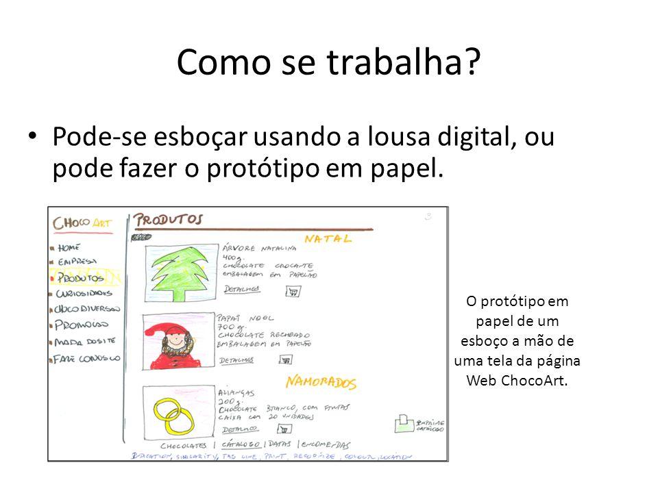 Como se trabalha Pode-se esboçar usando a lousa digital, ou pode fazer o protótipo em papel.