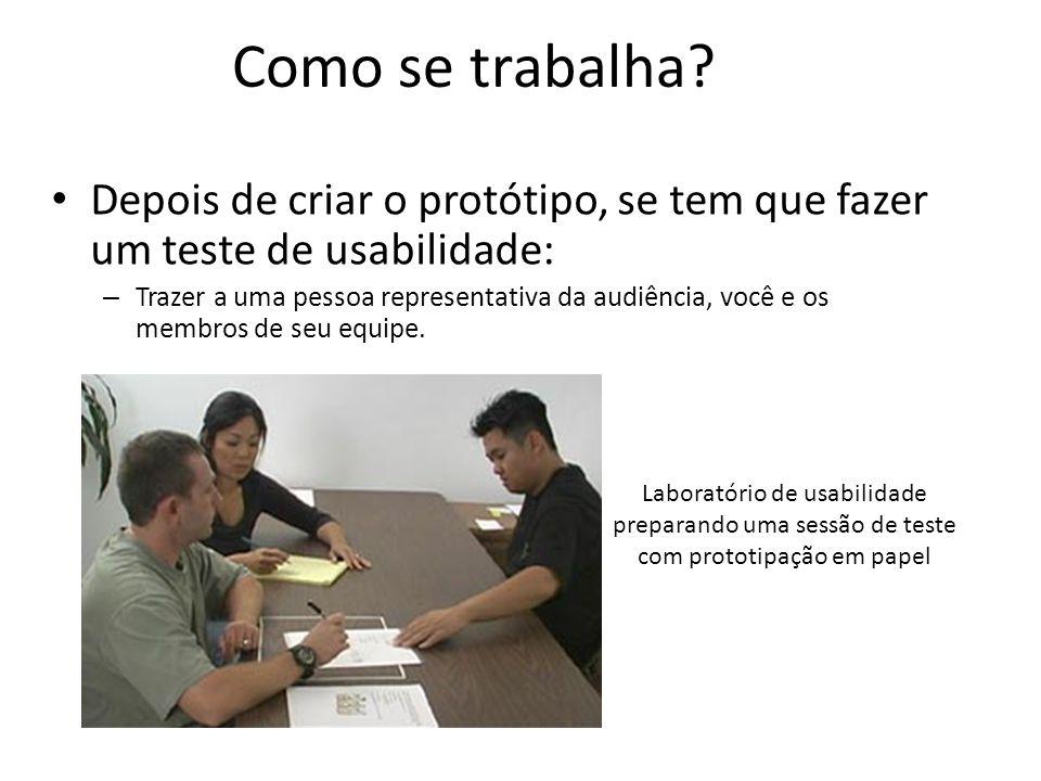 Como se trabalha Depois de criar o protótipo, se tem que fazer um teste de usabilidade: