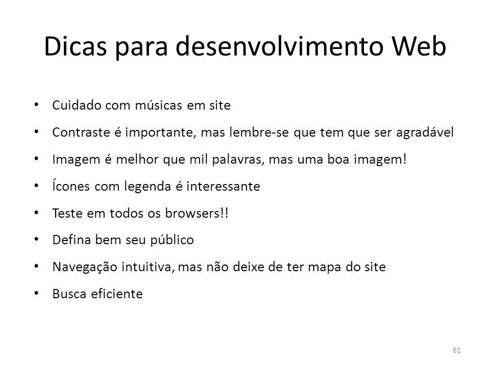Dicas para desenvolvimento Web
